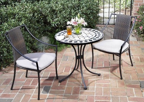 3pc Outdoor Bistro Table Set with Octagon Marble Tile Top in Black Aluminum Finish