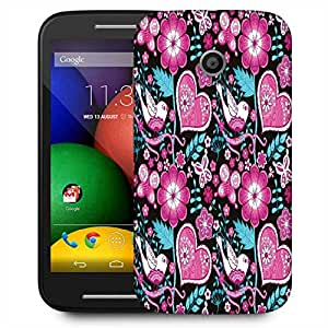 Snoogg Seamless Texture With Flowers Designer Protective Phone Back Case Cover For Motorola E / Moto E