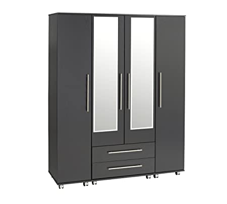 Treat Your Home Brandy 4 Door and 2 Drawers Plus Mirrors Wardrobe, Wood, Black