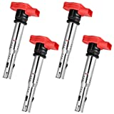 Ignition Coil Pack Set of 4 Replaces OE# 06E905115E for Audi A3 A4 A5 A6 A7 Q5 Q7 R8 S4 S5 TT & Volkswagen MK5 MK6 Jetta Golf Passat CC Tiguan 3.2L 4.2L 5.2L (Color: Red, Tamaño: 06E905115E)