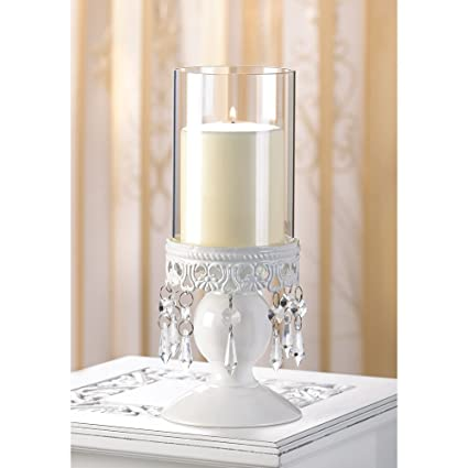 White Victorian Hurricane Lantern Candle Holder Centerpiece by Furniture Creations