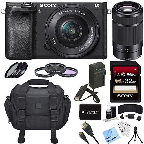 Sony Alpha a6300 ILCE-6300 4K Mirrorless Camera 16-50mm + 55-210mm...
