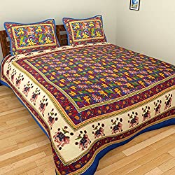 RAJKRUTI cotton jaipuri bedsheet rajasthani print Double Bed sheet With two Pillow Cover (90X108 In.)