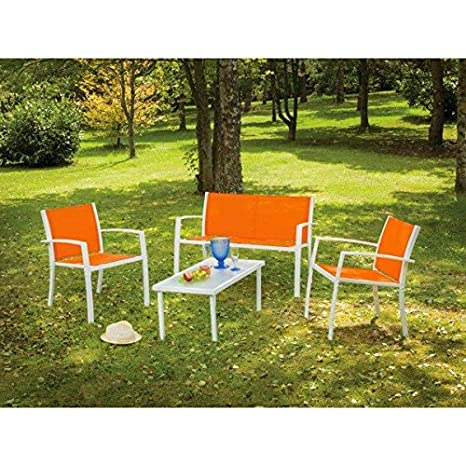 Salon de Jardin moderne Orange SAINT DOMINGUE 4 places et 1 table basse, mobilier de jardin