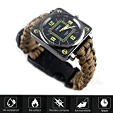 Mgirlm Men Women Emergency Survival Watch with Paracord,Compass,Whistle,Fire Starter,Survival Gear,Military Gear Brown Watch