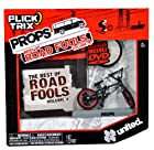 Spinmaster Flick Trix Fingerbike Real Bikes, Unreal Tricks BMX Bicycle Miniature Set - Black Color UNITED Bike with Display Base and DVD Props The Best of Road Fools Volume 4