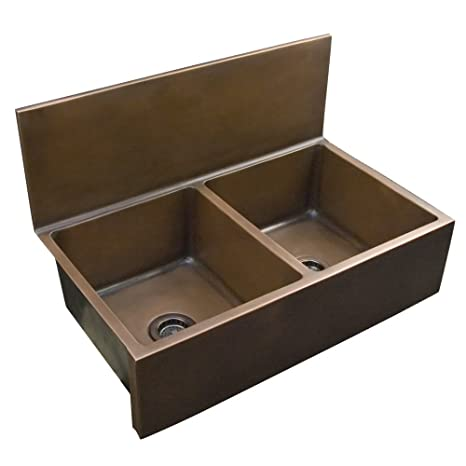 Barclay FSCDB3556-SAC Ramona Double Bowl Copper Farmer Sink