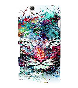 PrintVisa Modern Art Colorful Lion 3D Hard Polycarbonate Designer Back Case Cover for Sony Xperia C4 Dual