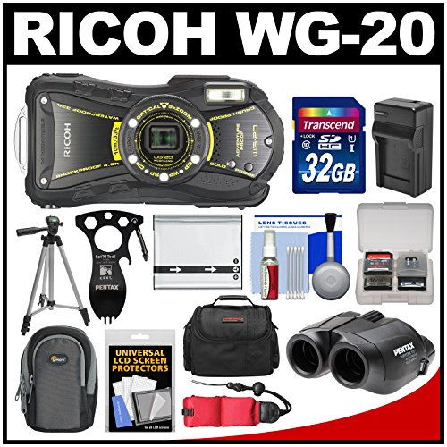 Ricoh Wg-20 Shock & Waterproof Digital Camera, 8X22 Jupiter Iii+ Binoculars & Eat'N Tool Adventure Kit With 32Gb Card + Case + Battery/Charger + Tripod + Float Strap