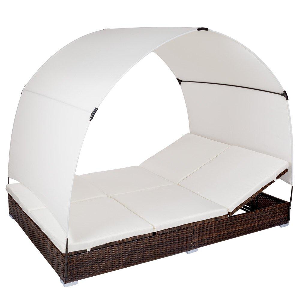 TecTake Alu Sonnenliege Poly Rattan Gartenliege Loungeliege Gartenlounge Doppelliege mit Dach 2 Personen – braun/schwarz – günstig kaufen