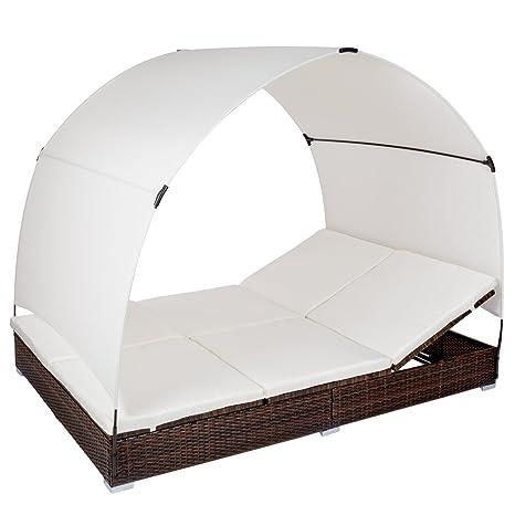 TecTake Aluminio tumbona chaise longue de ratán con parasol - marrón/negra -