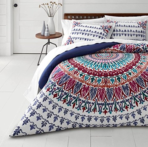 3-Piece-Medallion-Motif-Duvet-Full-Queen-Set-Beautiful-Bohemian-Boho-Chic-Hippy-Bedding-All-Over-Hippie-Floral-Feather-Henna-Mandala-Pattern-Multi-Blue-Green-Pink-Purple-White