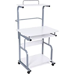Songmics Movable Portable Trolley Study Workstation with Sliding Keyboard