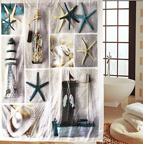 lifeast-sea-world-fabric-shower-curtain-seashell-and-sandy-beach-pattern-b