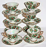 16 PIECE SET - Vintage 1950s Ucagco FLOWER OF THE MONTH Holly December Cups & Saucers