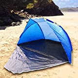 Quality Blue Beach Tent & Festival Shelter by UKHobbyStore with Closing Door Adult & Childrens SPF40 Sun Protection Screen Rain & WindBreak Fishing Camping & Garden Play Area Shade