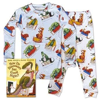 How Do Dinosaurs Say Good Night? (Book & Boys Pajama Set) (4T)