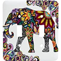 Colorful Elephant Mosaic Double Toggle Light Switchplate by Jessies Designs
