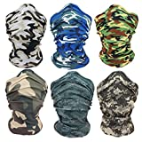 KapscoMoto Outdoor Face Masks Motorcycle Headwear Sports Bandana Headbands Multifunctional Seamless Tube Masks 6PCS (Camouflage Series)