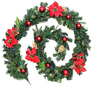WeRChristmas 9 ft Decorated Pre-Lit Garland Christmas Decoration Illuminated with 40 Multi-Colour LED Lights, Red/ Gold