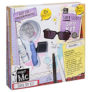 Project Mc2 Super Secret Spy Kit has everything an aspiring detective needs to solve the case.  Dust a crime scene for prints, then compare them to fingerprint samples of your suspects.  Send secret coded messages to your friends and allies in the fi...