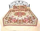 Exotic India Gray-Sand Bedspread from Pilkhuwa with Floral Print and Stripes - Pure Cotton with Pill