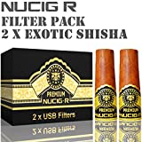 Exotic Shisha Flavour NUCIG-R Replacement Pack of 2 Filters VG Premium Base for NUCIG Rechargeable Electronic Cigar Electric ecigar e cigar Ecigarette Electronic Cigarette Electric Cigarette eliquid clearomiser