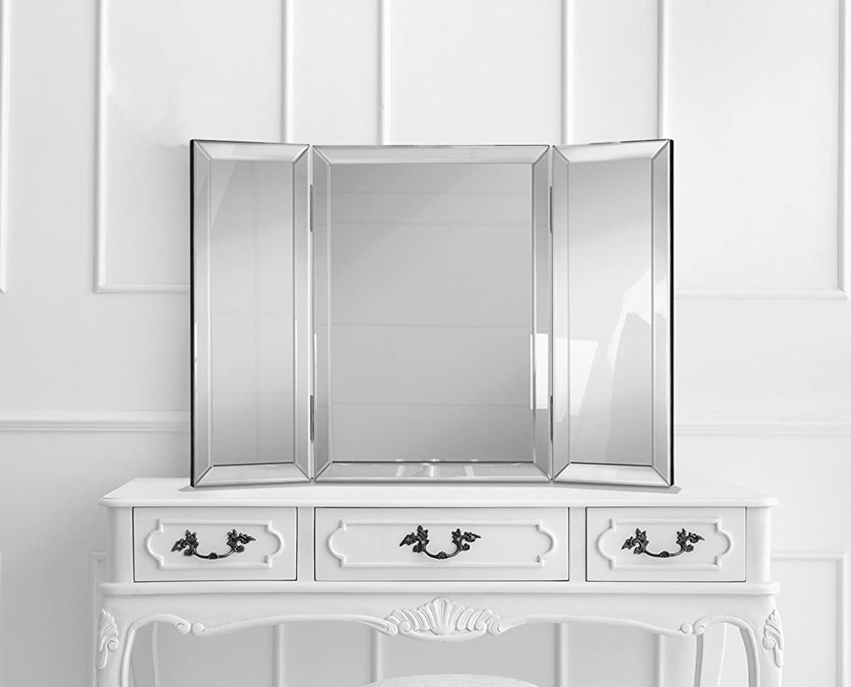 Hamilton hills trifold vanity mirror solid hinged sided tri fold tri fold beveled mirrored edges 3 way hangable on wall or tabletop cosmetic amipublicfo Image collections