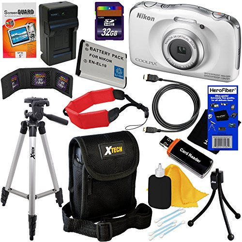 Nikon COOLPIX S33 Waterproof & Shockproof 13.2 MP Digital Camera with 3x Zoom NIKKOR Lens and Full HD 1080p Video, White (Import) + EN-EL19 Battery & AC/DC Battery Charger + 11pc Bundle 32GB Deluxe Accessory Kit w/ HeroFiber® Ultra Gentle Cleaning Cloth