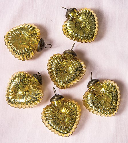 Luna Bazaar Mercury Glass Ornaments (Heart Design, 2-Inch, Gold, Set of 6) - Vintage-Style Decorations