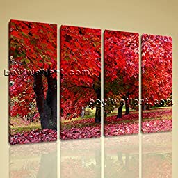 Large Contemporary Canvas Wall Art Print Picture Of Tree Fall Red Autumn HD 4 Panels Wall Art Inner Framed Ready To Hang by Bo Yi Gallery 51\