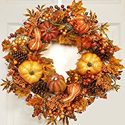 Fall Harvest Wreath with Pumpkins, Gourds, & Berries WR4637