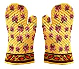 Miyanbazaz High Quality Microwave Oven Pad Heat Proof Hand Gloves In Set Of 2 Gloves (yellow-Red)