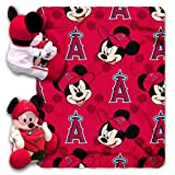 MLB Los Angeles Angels Mickey Mouse Pillow with Fleece Throw Blanket Set