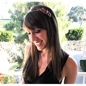Rhinestone Bling Bridal Fashion Hot Pink Metal Headband Tiara 