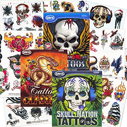 Savvi-Classic-Tattoos-Party-Pack-3-Full-sized-Bags-125-Tattoos