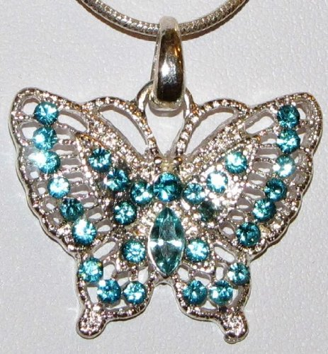 Butterfly Rhinestone Necklace - Turquoise