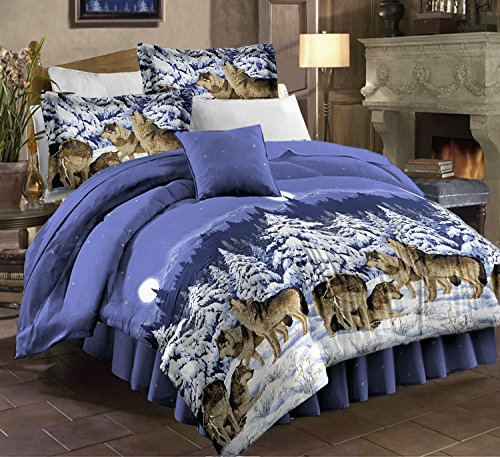 Mountain Home Cabin Lodge Wolf Wolves Full Comforter Set (8 Piece Bed In A Bag)