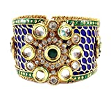 9blings Diwali Frestive collection meena kari royal blue peacock design 1pc cuff opnable bangle meena1