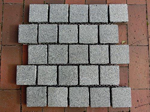 Pflastersteine Pflaster Naturstein auf Netz  2,5 m² anthrazit