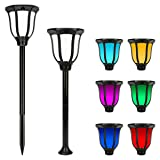 Miserwe Solar Lights Outdoor 2 Pack IP65 Waterproof Solar Landscape Lights for Lawn Patio Yard Pathway Walkway Auto On Off 4 Type of Installation with 6 Different Colors (Color: White)