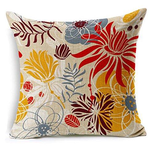 Dececos Flowers Home Decorative Cotton Linen Blend Throw Pillow Cover Square Pillow Case Cushion ...