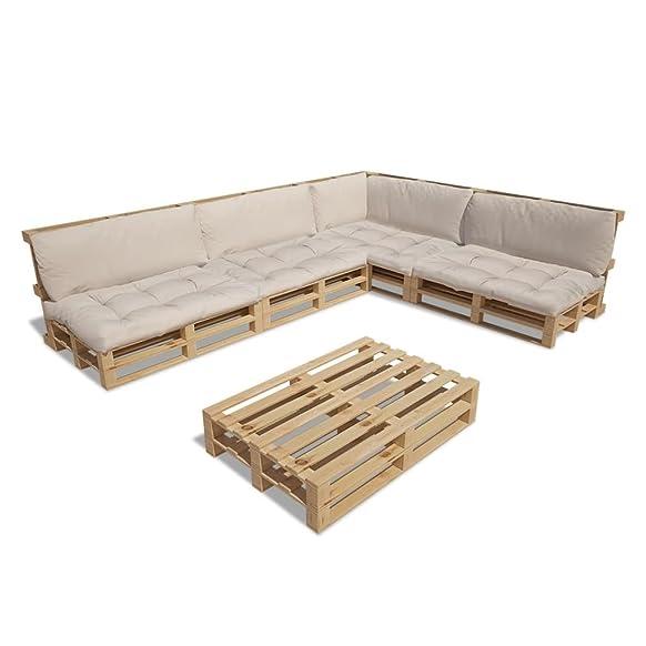vidaXL Set 15 pz seduta da giardino esterno pallet legno 9 cuscini bianco sabbia