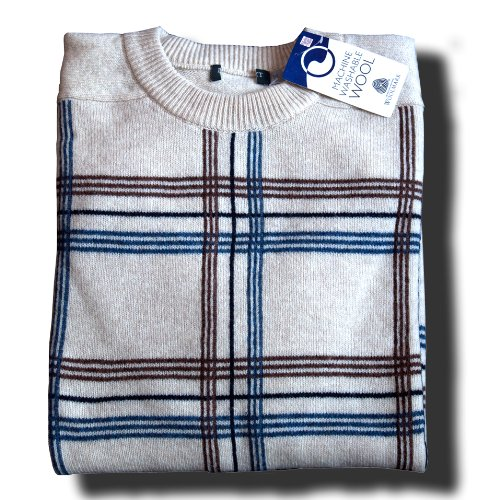 Mens Pure Lambswool Argyle Crew Neck Jumper - Fawn, Beige & Blue - Medium