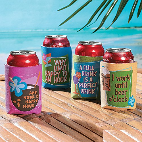 Tropical Sayings Can Covers (4 Pack) Fits a 12-oz. can. 4 3/4