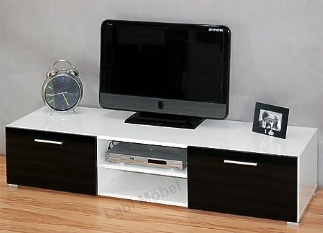 Labi Möbel TV1 TV mueble para TV LUNA del cuerpo: blanco mate/parte frontal: negro