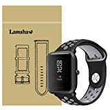 for Xiaomi Amazfit Bip Band, Lamshaw Silicone Soft Band with Ventilation Holes Replacement Straps for Xiaomi Huami Amazfit Bip Younth Watch (Ventilation Holes Silicone_Black+Gray) (Color: Ventilation Holes Silicone_Black+Gray)