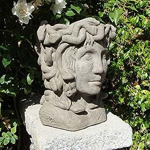 Designer stone medusa head planter bust planters patio lawn garden - Medusa head planter ...
