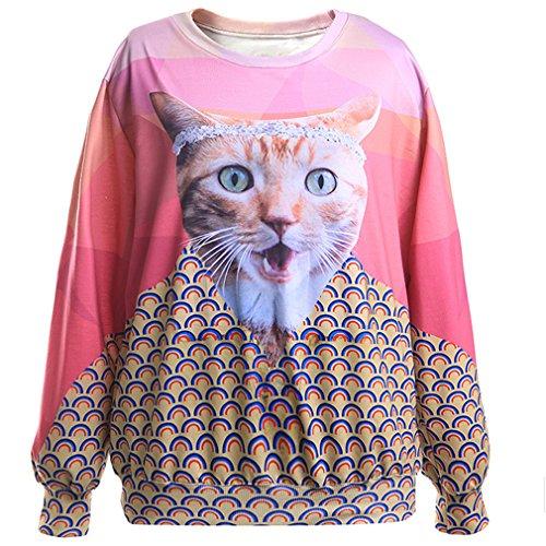THENICE Donna Hip-hop manica lunga T-shirt Felpe (Wink Cat)