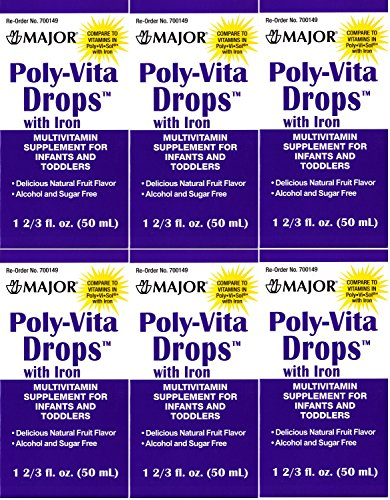 Poly Vitamin Liquid With Iron Sugar & Alcohol Free Natural Fruit Flavor Generic For Enfamil Poly-Vi-Sol Multivitamin Supplement Drops For Infants And Toddlers Measuring Syringe Included 50 Ml Per Bottle Pack Of 6